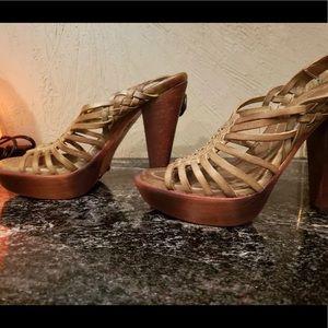 Frye Olive Green wooden heels. 7.5